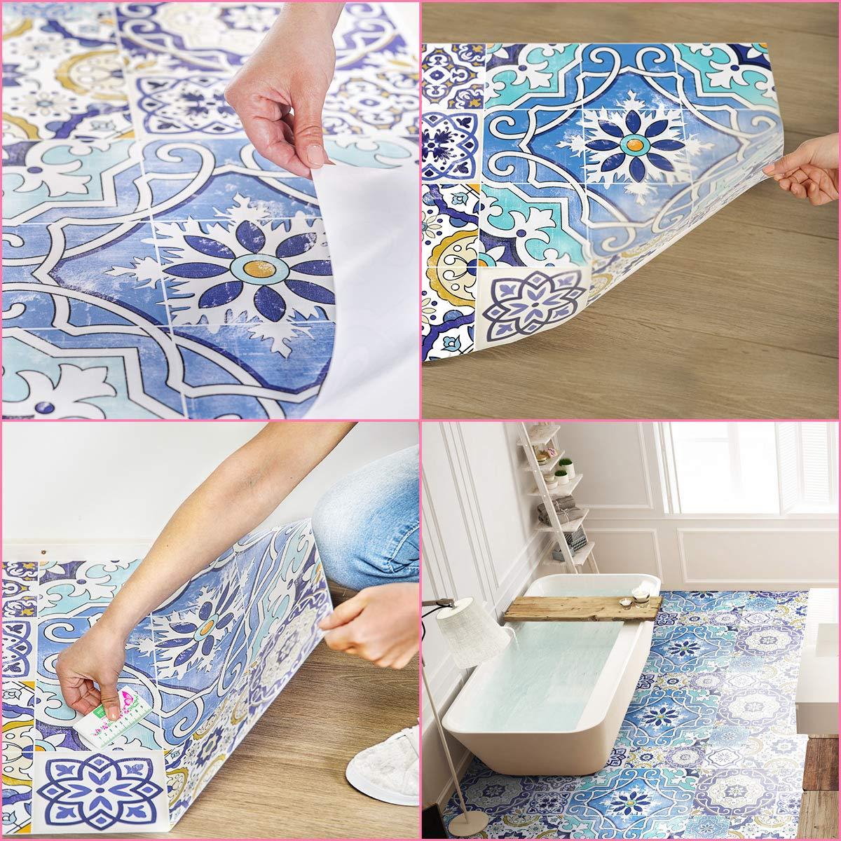 Bricolage Stickers Carrelage 60 X 90 Cm 1 Stickers Adhesifs Carrelages Azulejos Revetement De Sol Anti Derapant 1 Piece