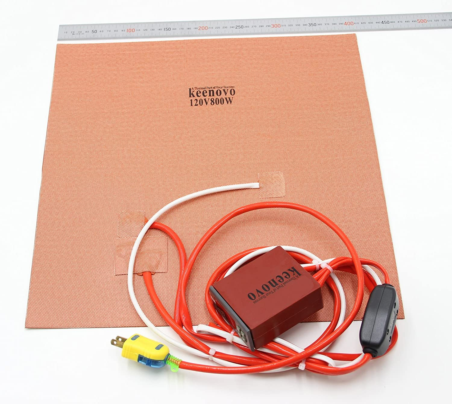 """Keenovo Silicone Heater gMax Style 3D Printer Heatbed Build Plate Heating Element 16"""" 120V Dual Heating Zones+Integrated Digital Controller & Plug"""