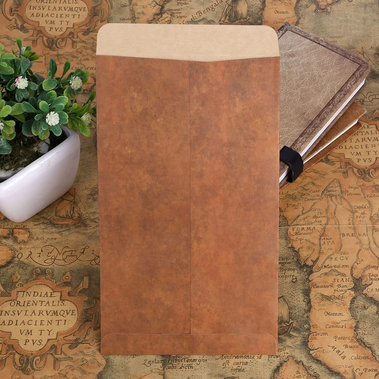 Yoption 50 Pack Vintage Classic Kraft Paper Envelopes and 20 Stickers for Writing and Printing 70Pcs Old Fashioned Envelopes 8.664.72 Brown Kraft Paper Envelopes