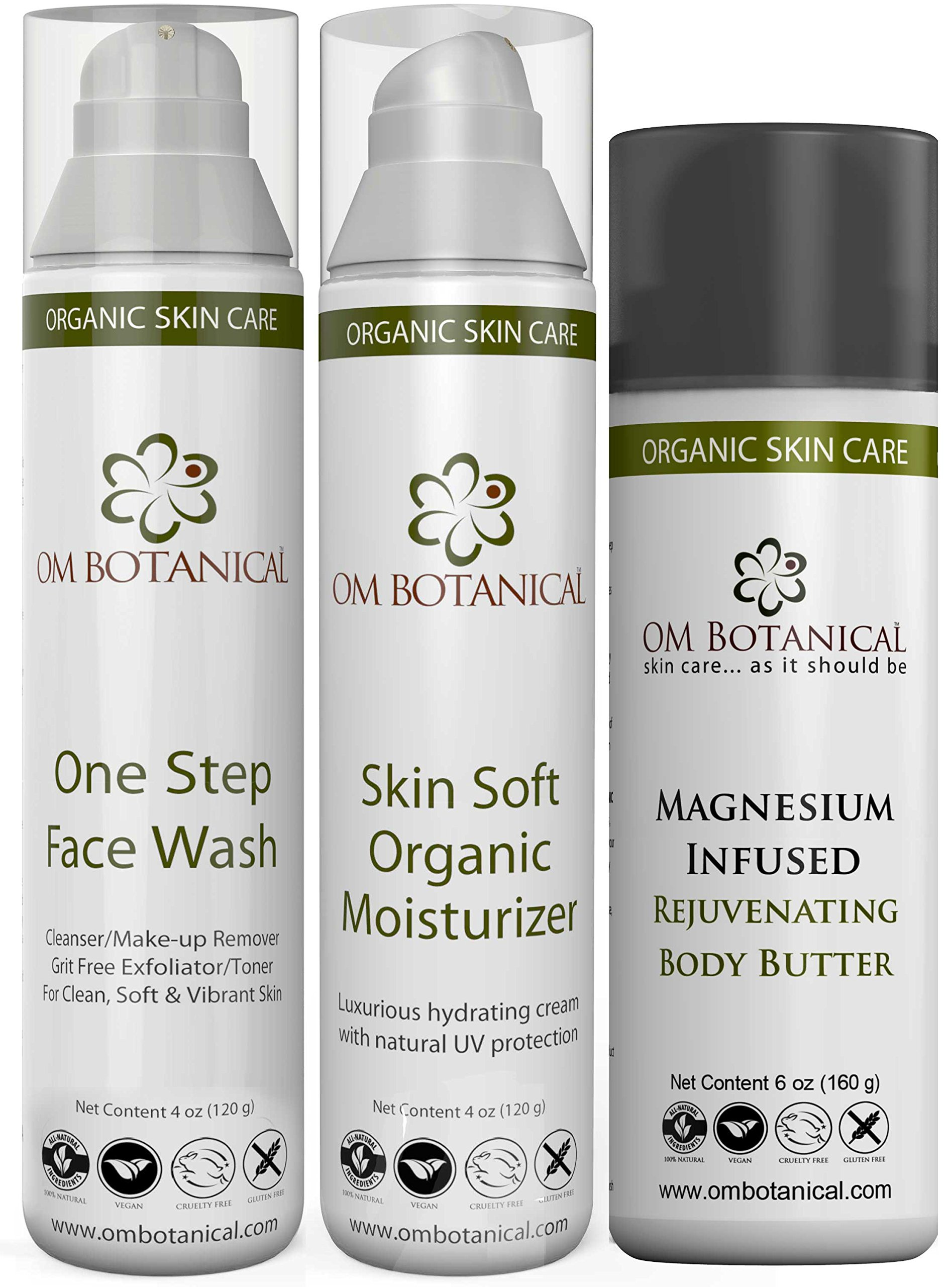 Organic Skin Care Daily Essentials Kit - One Step Face Wash, Skin soft Moisturizer and Magnesium Infused Body Butter