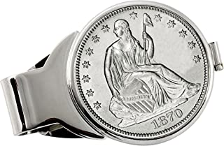 product image for Coin Money Clip - Silver Seated Liberty Half Dollar | Brass Moneyclip Layered in Silver-Tone Rhodium | Holds Currency, Credit Cards, Cash | Genuine U.S. Coin | Includes a Certificate of Authenticity