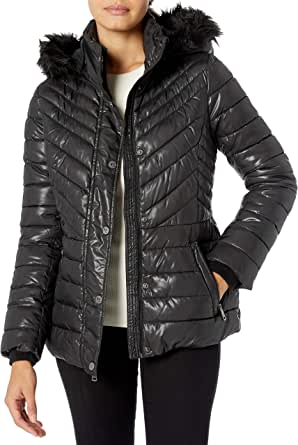 Kenneth Cole Women's Short Puffer with Faux Fur Trimmed Hood