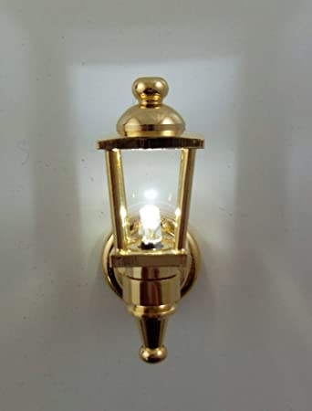 Melody Jane Dolls House Miniature Lighting LED Battery Light Brass Outdoor  Lamp