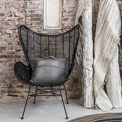 Hk Living Rattan Egg Chair In Black Amazon Co Uk Kitchen Home