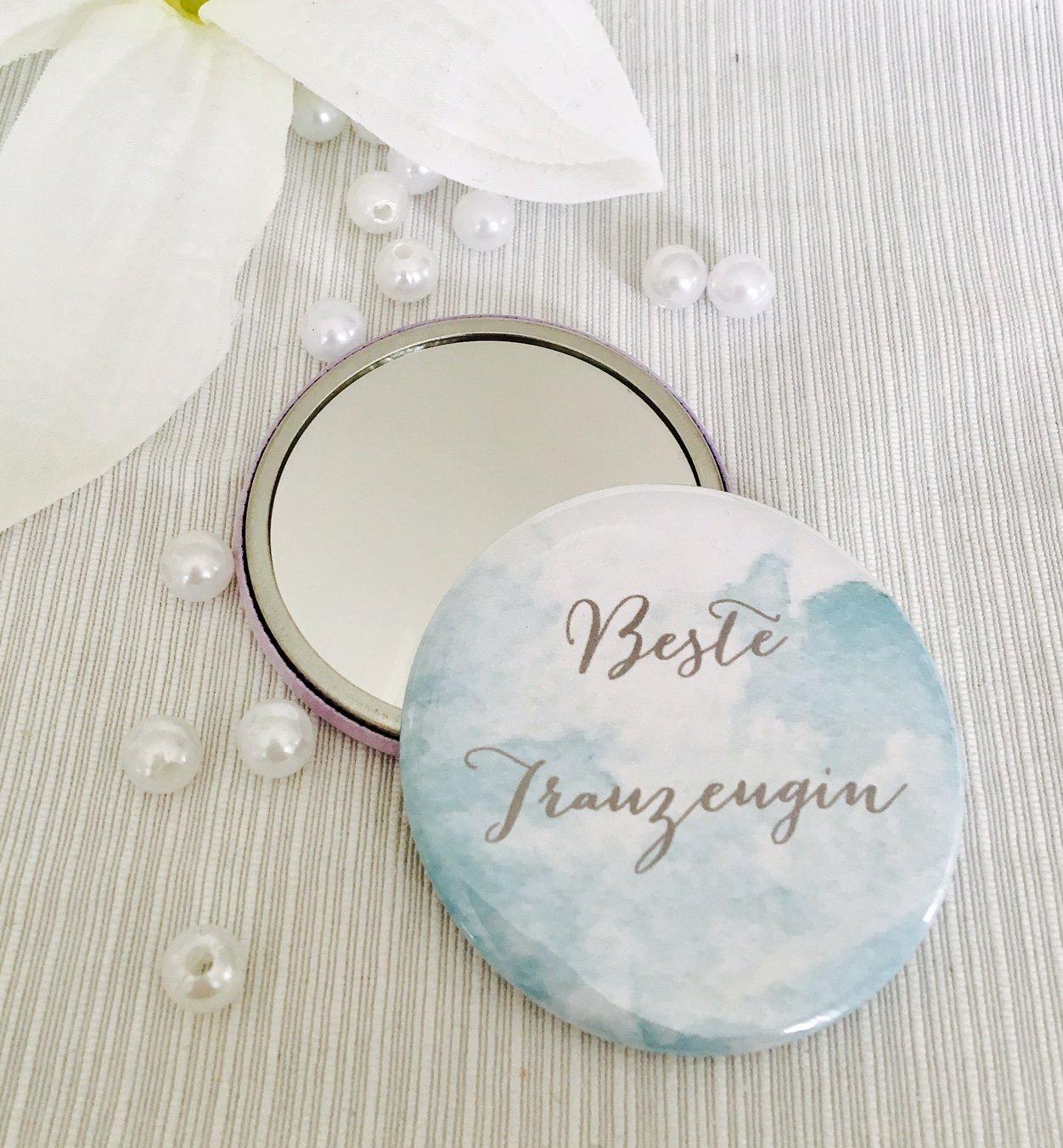 Handspiegel Button Beste Trauzeugin für Ihre Hochzeit, ideales Geschenk, Heiraten, Spiegel (grün) Spiegel (grün) Buntermix
