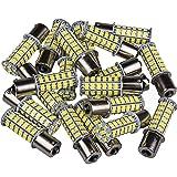 BA15S 1156 80 SMD Latest 2835 LED 1141 1003 Interior Light Bulbs Turn Signal Backup Reverse (20-packs, Super White)