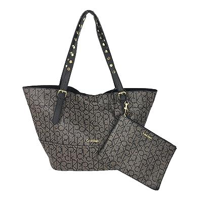 f0467c7d54dd Calvin Klein Signature Reversible Tote With Pouch, Brown/Black: Handbags:  Amazon.com
