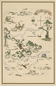 Open Road Brands Disney Winnie The Pooh Hundred Acre Wood Map - Large 15.5 Inch x 23.5 Inch Wood Wall Decor for Kids' Room, Play Room, Bedroom, or Nursery