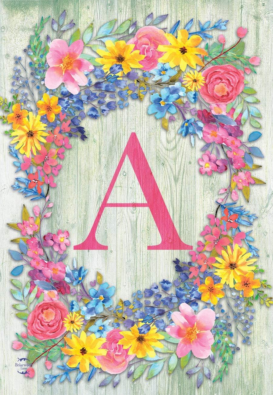 Briarwood Lane Spring Monogram Letter A Garden Flag Floral Wreath 12.5