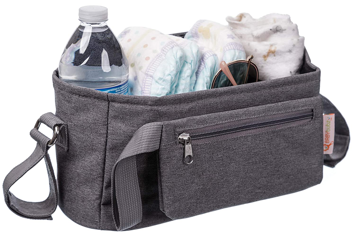 Baby Stroller Organizer for Busy Mom's - Lots of Storage - Durable Cup Holders - Universal Fit - Carry Your Phones, Keys, Diapers, Baby Toys, Snacks and More - Perfect Shower Gift BabyBubz