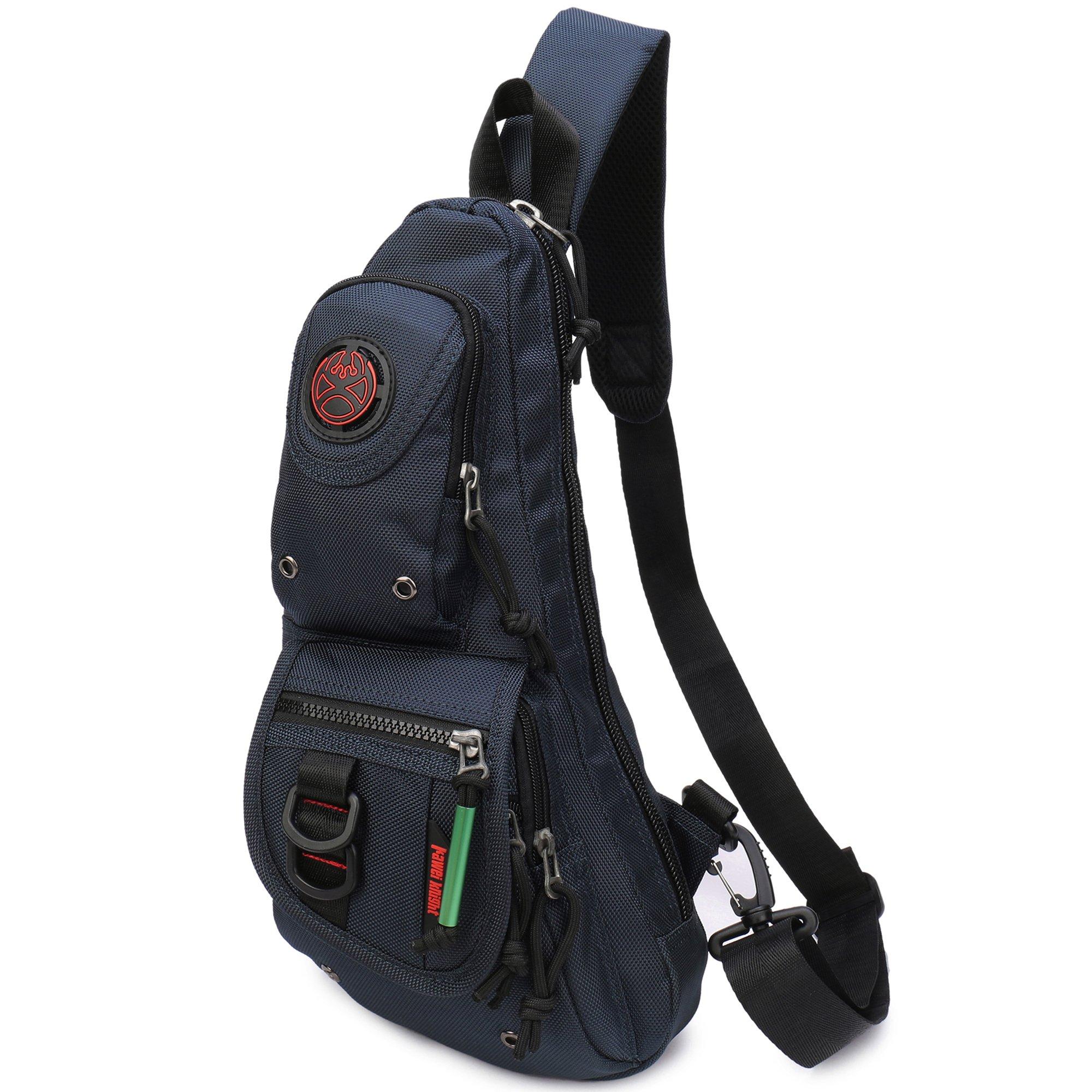 Sling Backpacks, Sling Chest Bags Shoulder Fanny Pack Crossbody Bags for Men Women Outdoor Travel Walking Dog Running (Navy blue)