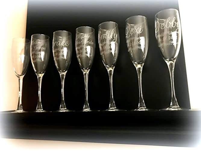 db45b540ca8c Image Unavailable. Image not available for. Color: 12 Qty Custom Engraved  Etched Printed Personalized Champagne Glass ...