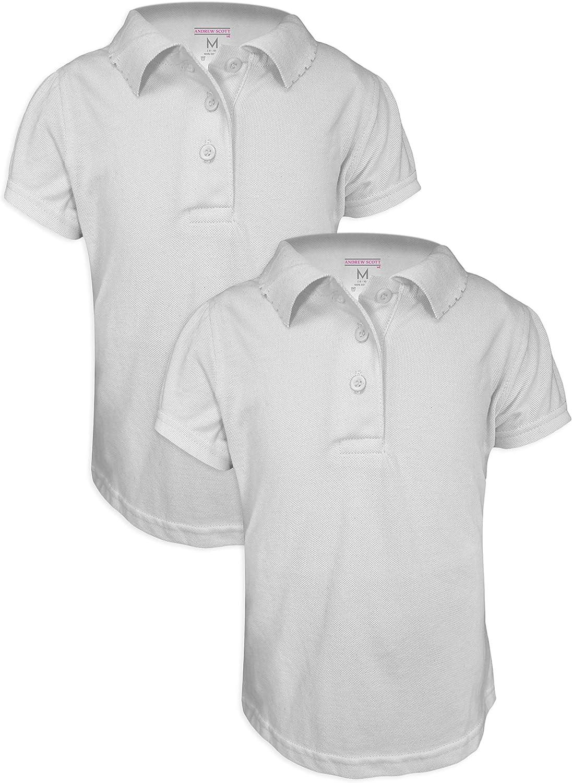 Andrew Scott Basics 2 -Pack Girls' Short Sleeve Pique Polo Shirts/School Uniform Polo Shirts: Clothing