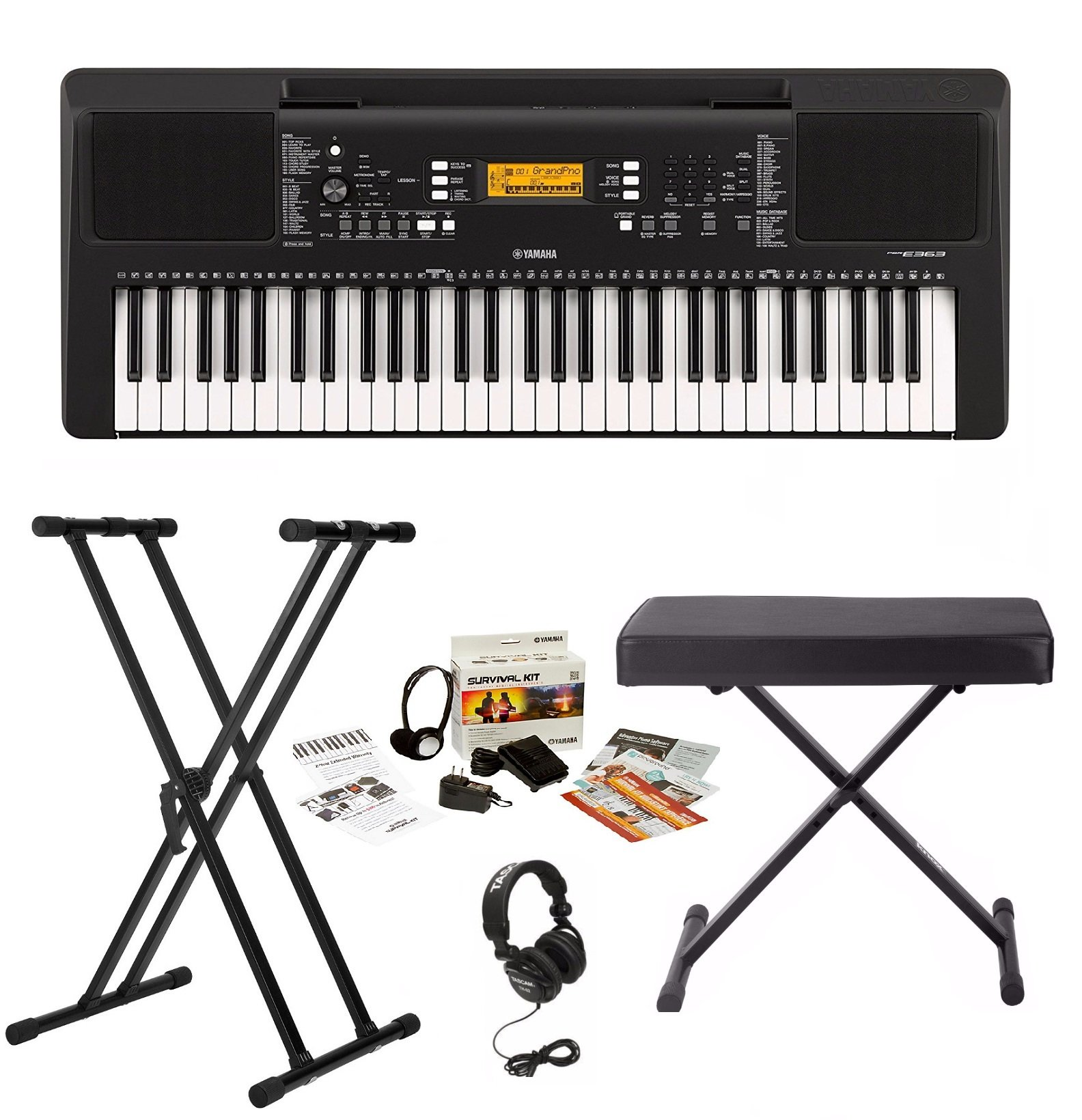 Yamaha PSRE363 61-Key Keyboard with Knox Bench, Stand, Headphones, & Survival Kit (includes power supply & 2 year warranty)