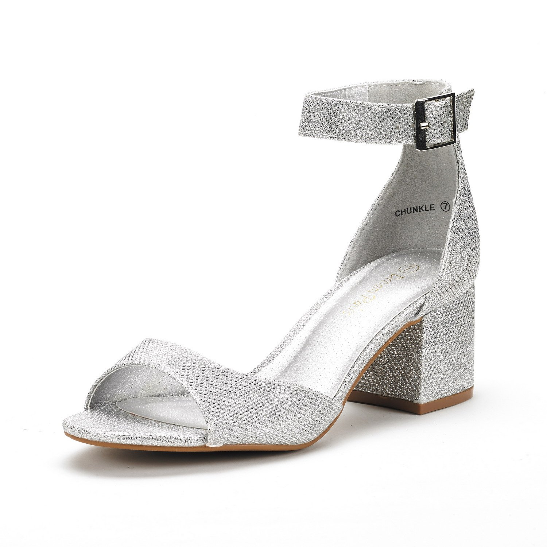 silver glitter low heel sandals