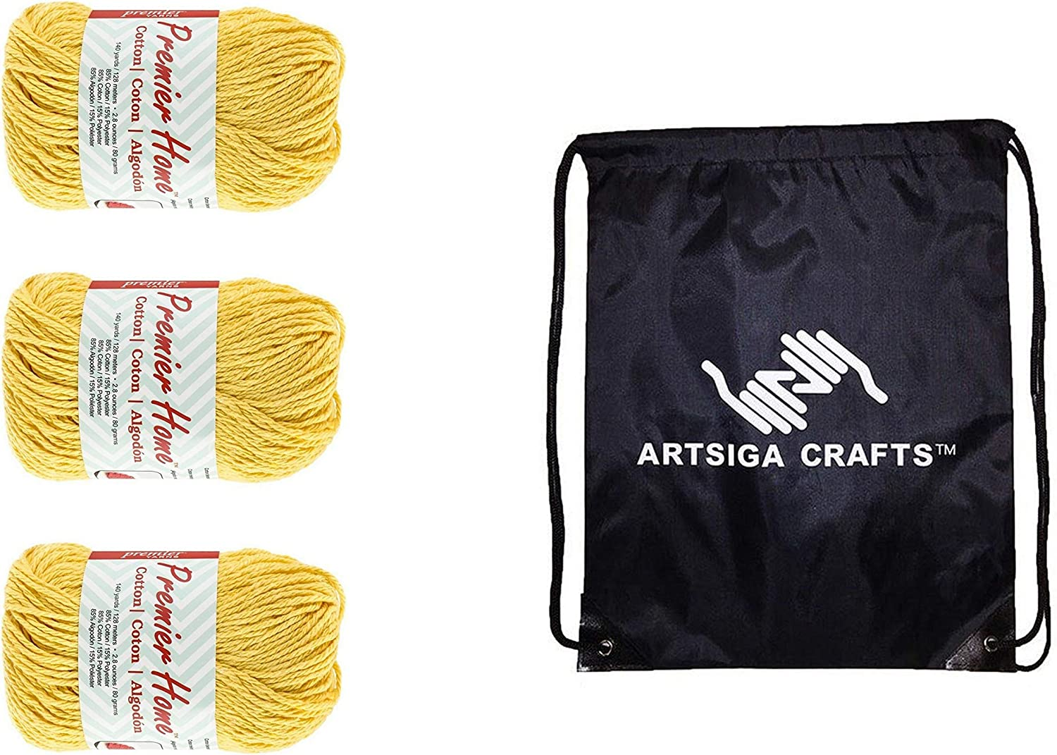 Premier Knitting Yarn Home Cotton Yellow 3-Skein Factory Pack (Same Dye Lot) 38-4 Bundle with 1 Artsiga Crafts Project Bag