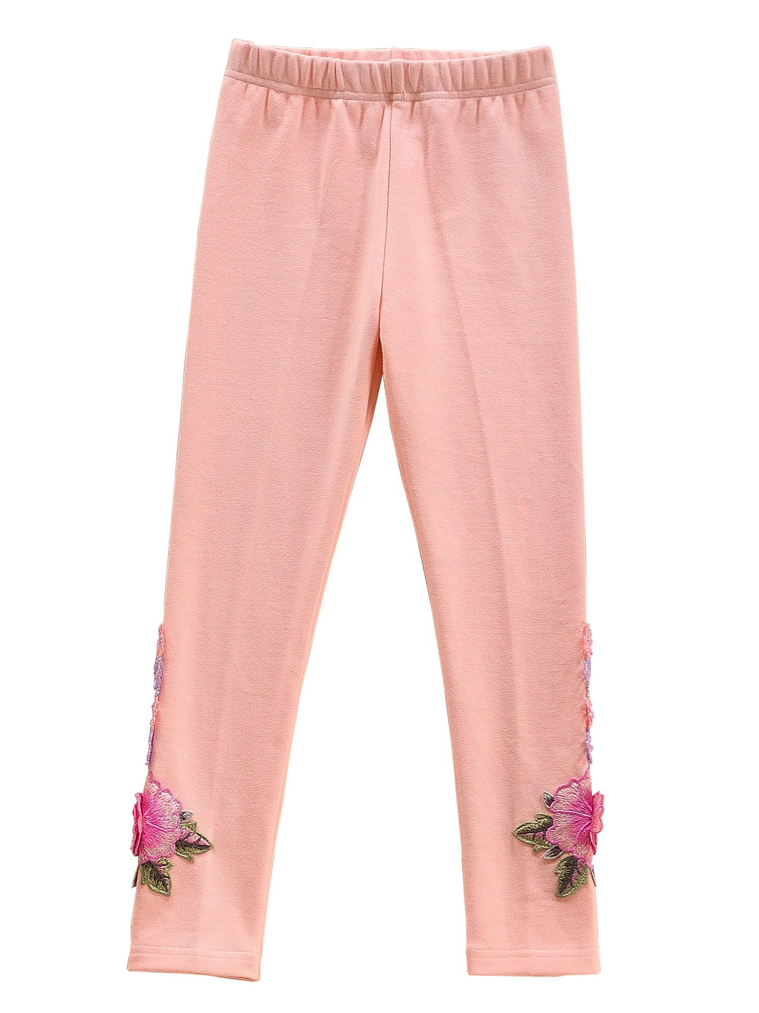 Ipuang Rose Flower Girls' Cotton Leggings for School or Play Pink 4