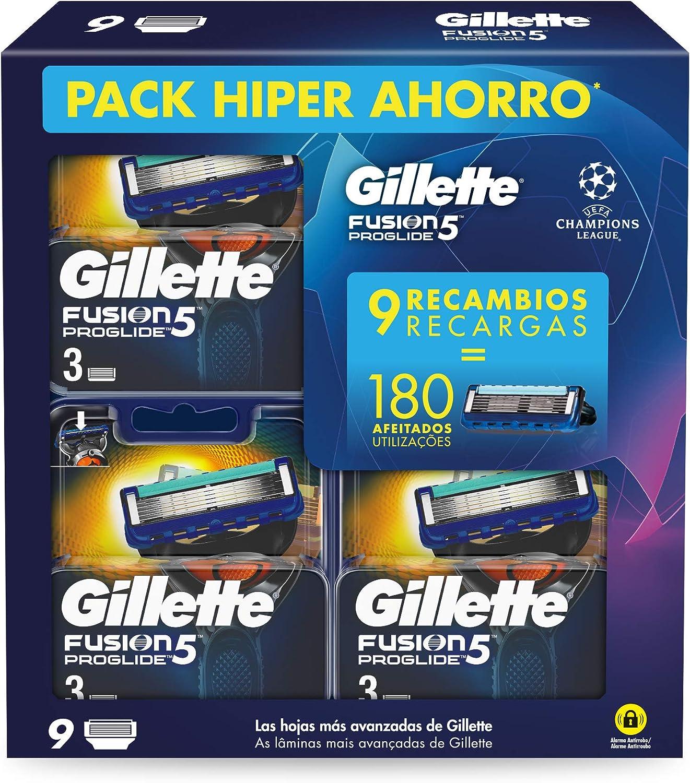 Gillete Fusion Proglide - Cuchillas de Afeitar, Pack Ahorro Champions League con 9 Recambios: Amazon.es: Salud y cuidado personal