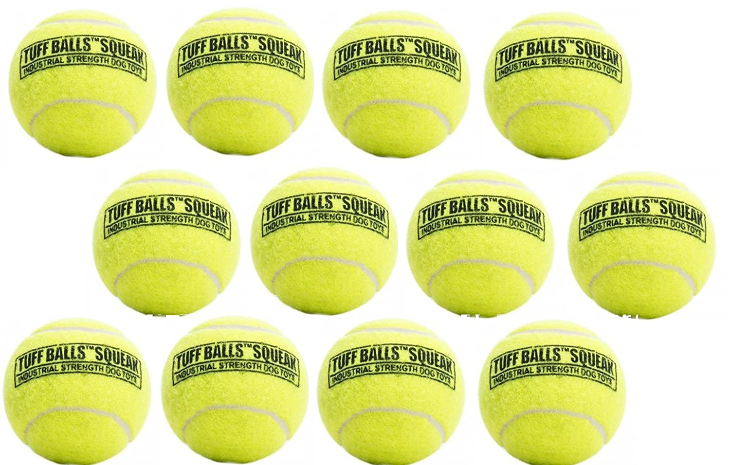 (Pack of 12) PetSport Tuff Squeaker Tennis Ball for Dogs - Size Original, 2.5-Inch