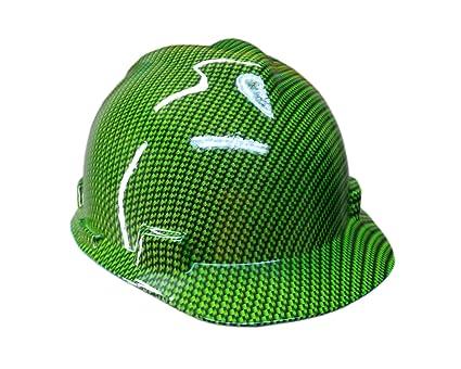 Izzo Graphics Green Carbon Fiber MSA V-Guard Cap Hard Hat - - Amazon com