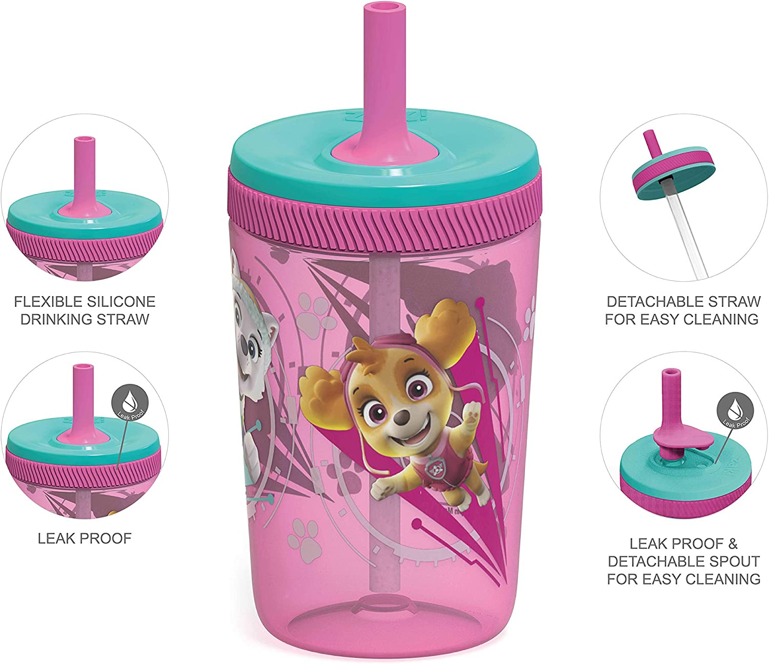Leak-Proof Screw-On Lid with Straw Made of Durable Plastic and Silicone Perfect Bundle for Kids Zak Designs Disney Minnie Mouse Kelso Tumbler Set