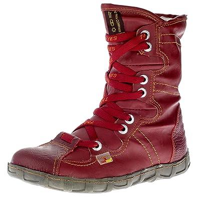 2522e599065e Dvina Damen Stiefel Stiefeletten Winterschuhe Comfort Boots DV13 (36, Rot)