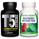 NEW ULTIMATE COMBO - T5 Fat Burner + Raspberry Ketones By Natural Answers | Best Weight Loss Pills | T5 Xtreme Ketone Trim | Extreme Max Strength Thermogenic Fat Burner and Raspberry Ketone Capsules | Strong Slimming Diet Supplements | Supress Appetite, Boost Metabolism | 1 Month Supply | Natural Answers