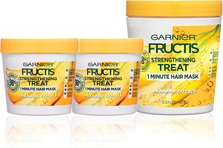 Garnier Hair Care Fructis Banana Hair Treat Mask - 1 400mL + 2 100mL, 1 Kit
