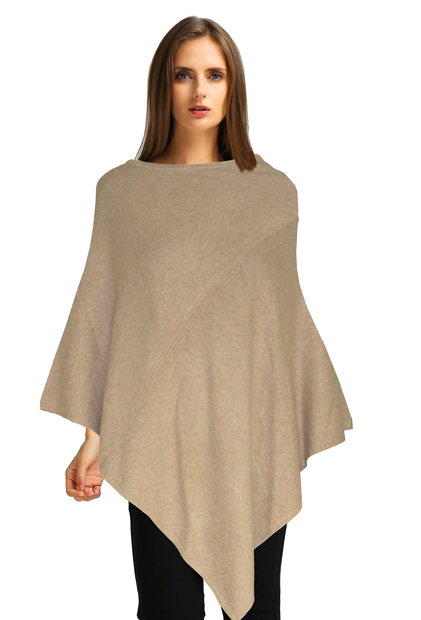 Ellettee, 100% Pure Cashmere Knit Pullover Poncho Dress Topper Travel Wrap Shawl Cape Sweater Cloak (DarkCamel) by Ellettee Collections
