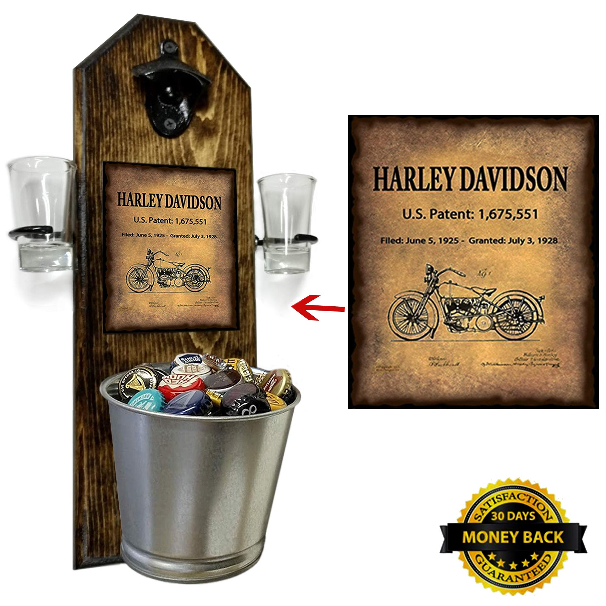 Deluxe Harley Davidson Patent Shot Glass Holder with 2 Shot Glasses, Bottle Opener and Cap Catcher - Handcrafted by a Vet - 100% Solid Pine 3/4'' Thick - Cast Iron Bottle Opener and Galvanized Bucket by CherryPic Junction