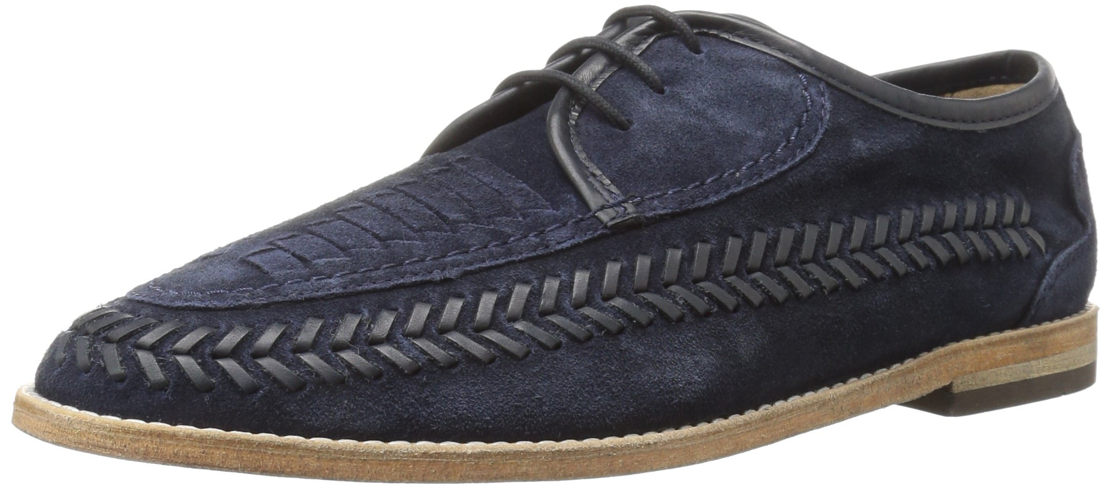 H by Hudson Men's Anfa Suede Oxford, Navy, 8 M US