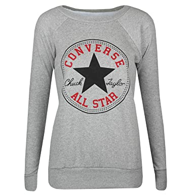 NEW WOMEN'S LADIES DESIGN CONVERSE ALL STAR JUMPER SWEATSHIRT BLACK S/M M/L