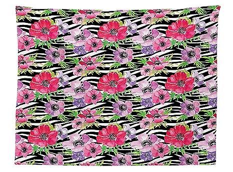 Vipsung Zebra Print Decor Tovaglia Fiori Tropicali Summer Garden
