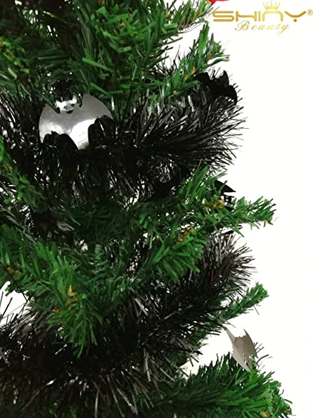 65ft long black tinsel garland for christmas tree or door way decoration tg005 - Garland For Christmas Tree