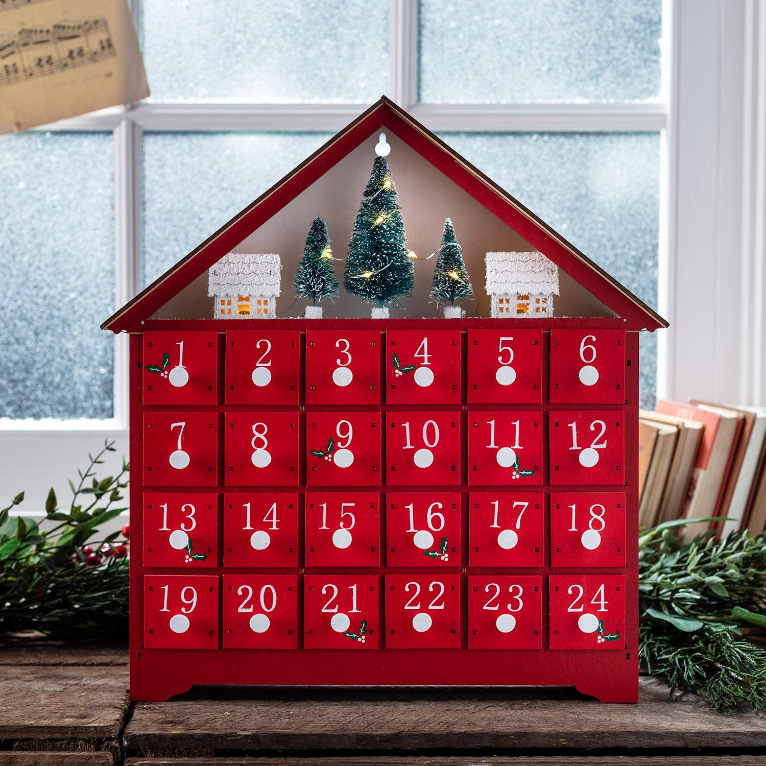 Inc Lights4fun Pre Lit Red Wooden Christmas Advent Calendar Decoration with Drawers