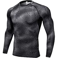 Queerier Men's Compression Shirt Long Sleeve Undershirts for Men Baselayer Sports Thermal Tops 3 Pack