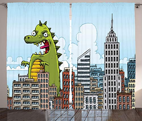 Ambesonne Jurassic Curtains, Giant Cartoon Monster Invades The City Attack Skylines Downtown Science Fiction, Living Room Bedroom Window Drapes 2 Panel Set, 108 X 84 , Pale Blue