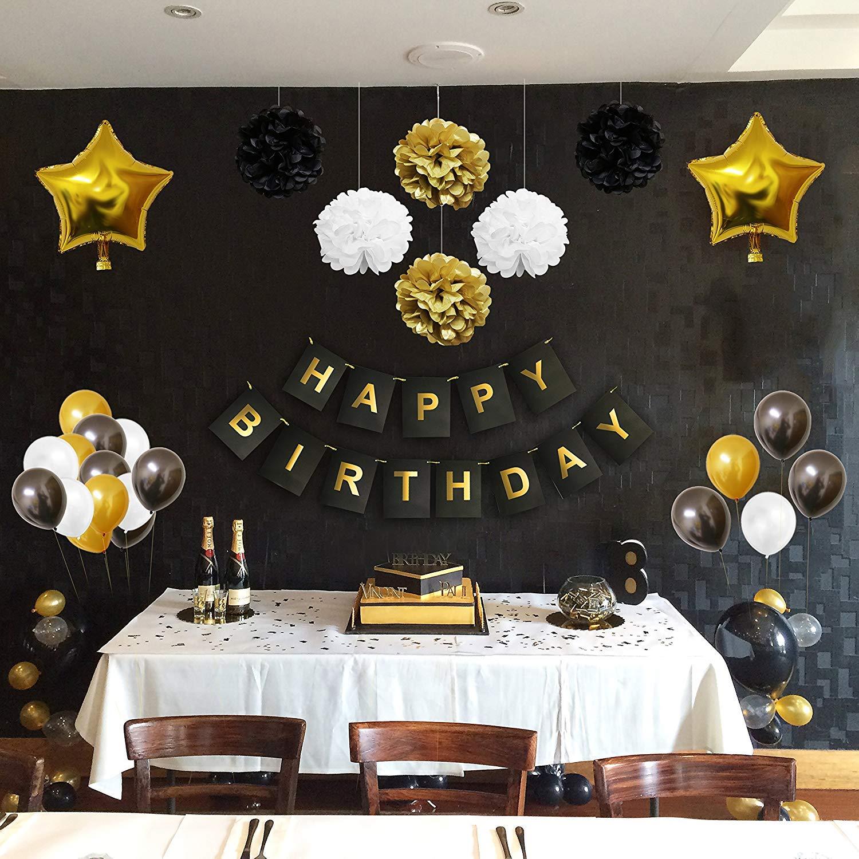 Decoraciones Fiesta 33 Piezas Doradas, Blancas y Negras - Pompones, Globos de Látex y de Papel de Aluminio y Pancartas para Celebraciones de ...