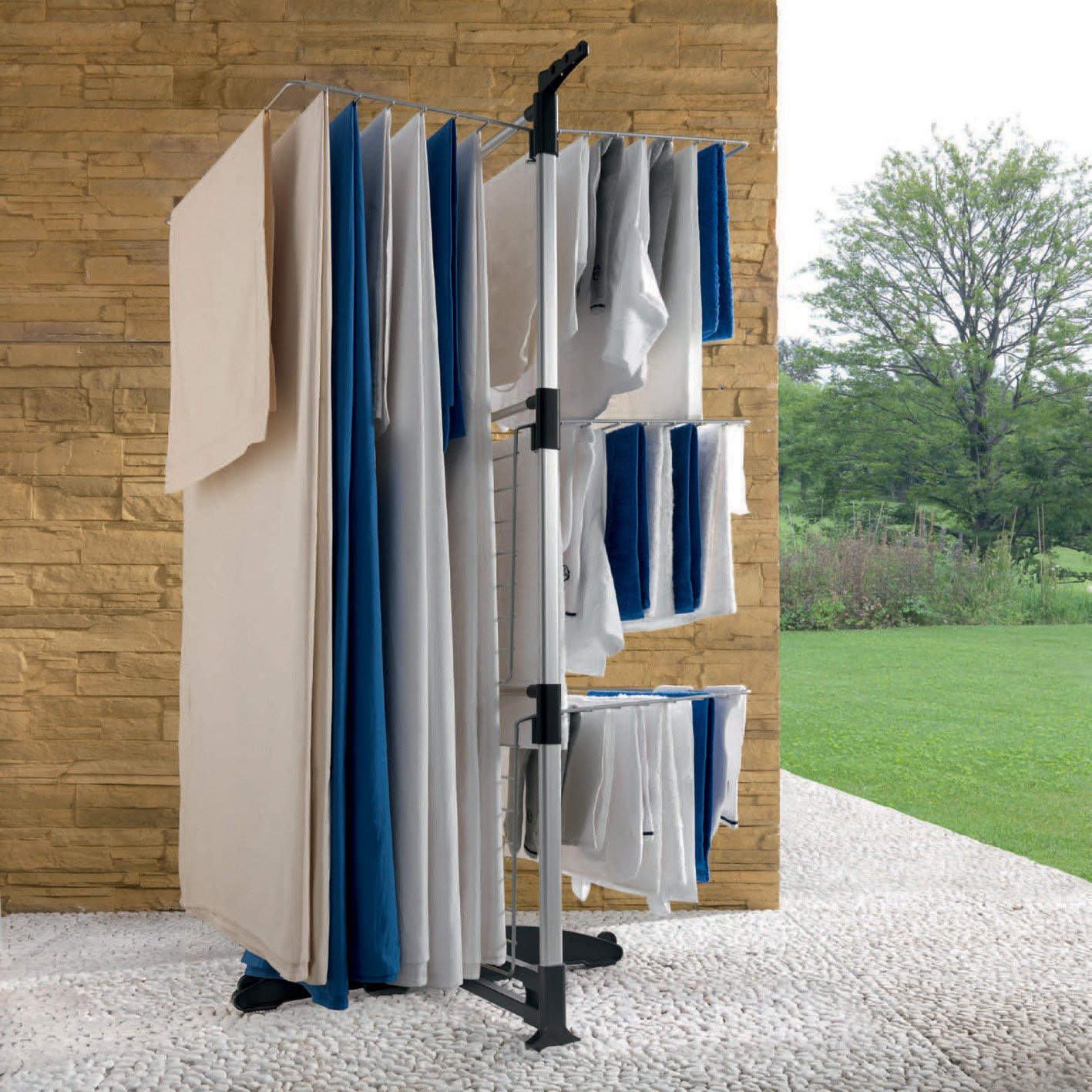 Metaltex 40 M Ciclone 3 Tier Independently Folding Shelves Vertical Laundry
