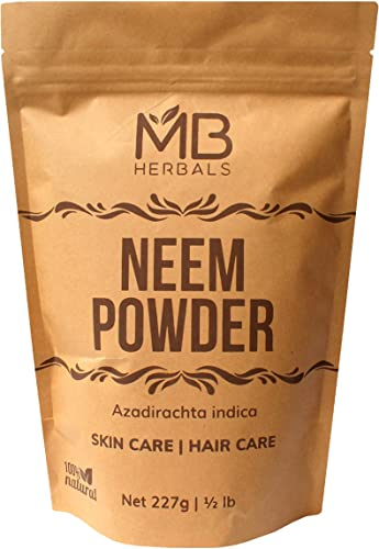 MB Herbals Pure Neem Powder 227 Gram Half Pound 8 Ounce Pure Wild Crafted Neem Leaf Powder Very Bitter Neem Supplement for Skin Hair and Detox Azadirachta Indica