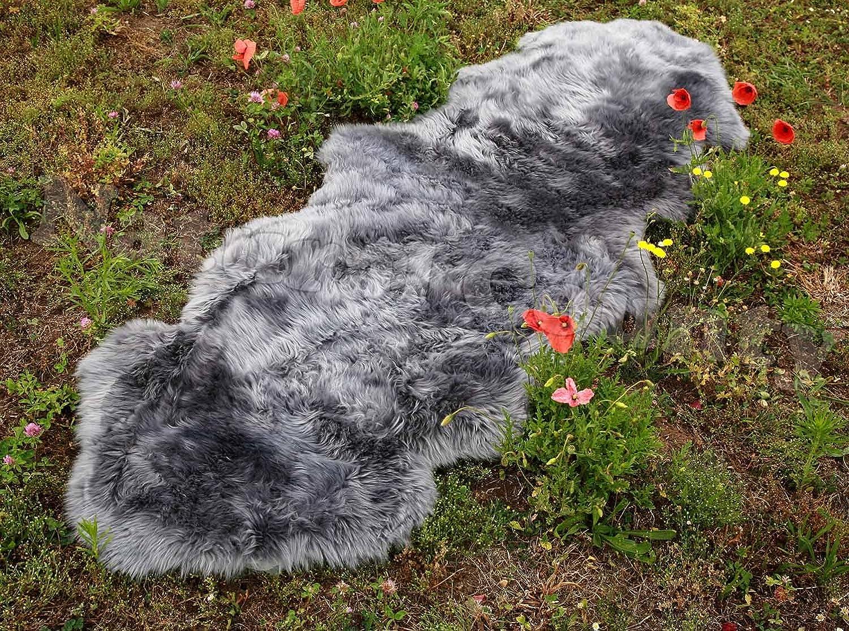 Doppel Lammfell Fellteppich Läufer grau ca. 200 x 70 cm