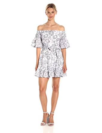 JOA Women's Floral Lace Off the Shoulder Dress, Navy/White, Small