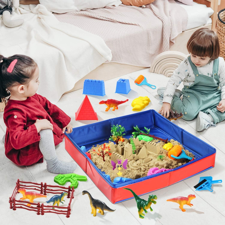 Dino Sand Kit Dinosaur Toys Sand Box with 3lbs Magic Sand Dinosaur Figures Trees Birthday Gift Sand Art Toys for Boys Girls Ages 3 Years Old Dinosaur Molds and Tools