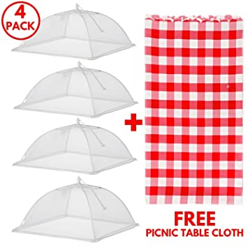 Food Tent Covers With FREE Picnic Table Cloth u2013 Premium 4 Pack Wind Proof Outdoor C&ing  sc 1 st  Amazon.com & Amazon.com | Food Tent Covers With FREE Picnic Table Cloth ...