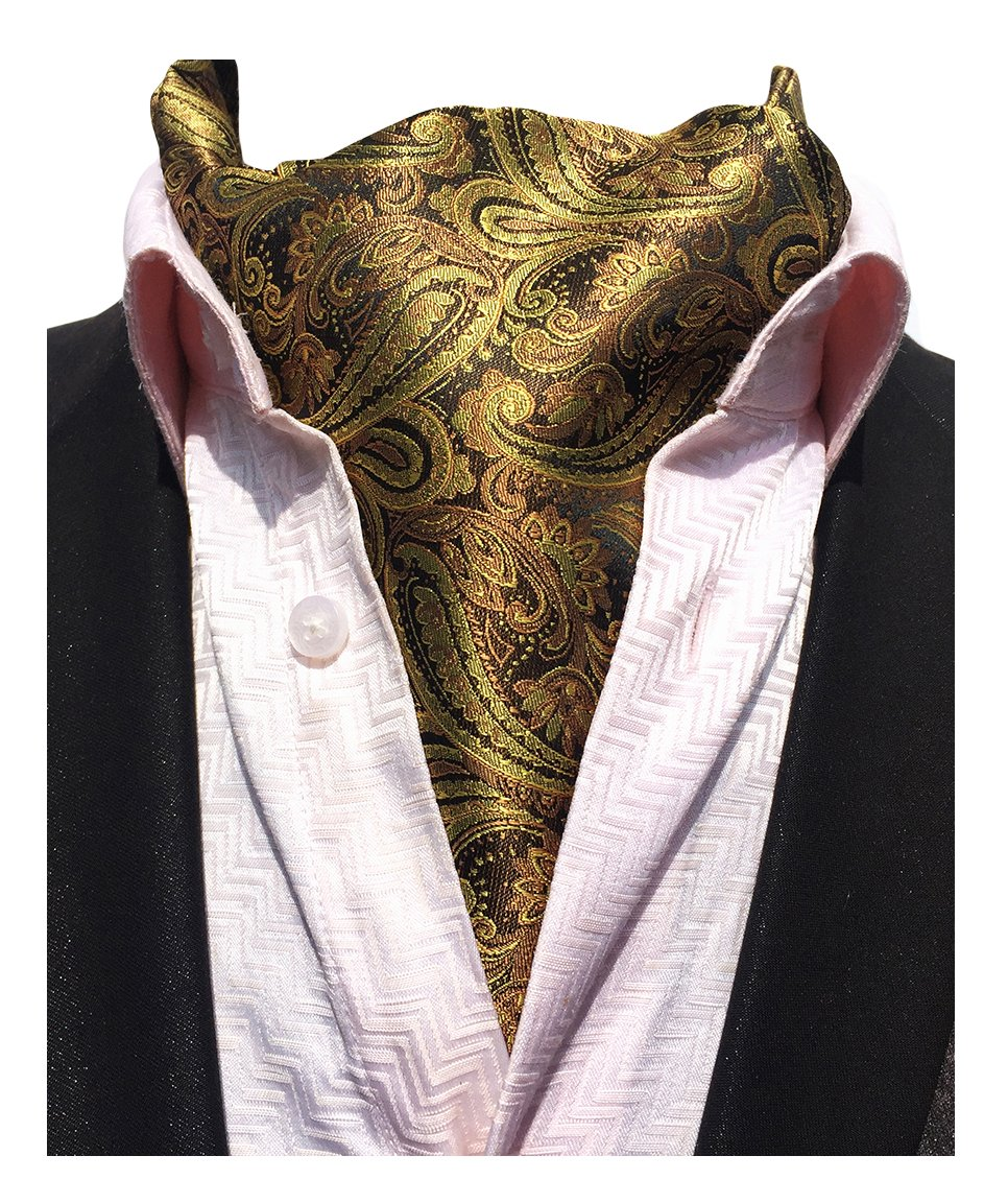 MENDENG Men's Grey Red Paisley Jacquard Woven 100% Silk Cravat Tie Formal Ascot END0910171