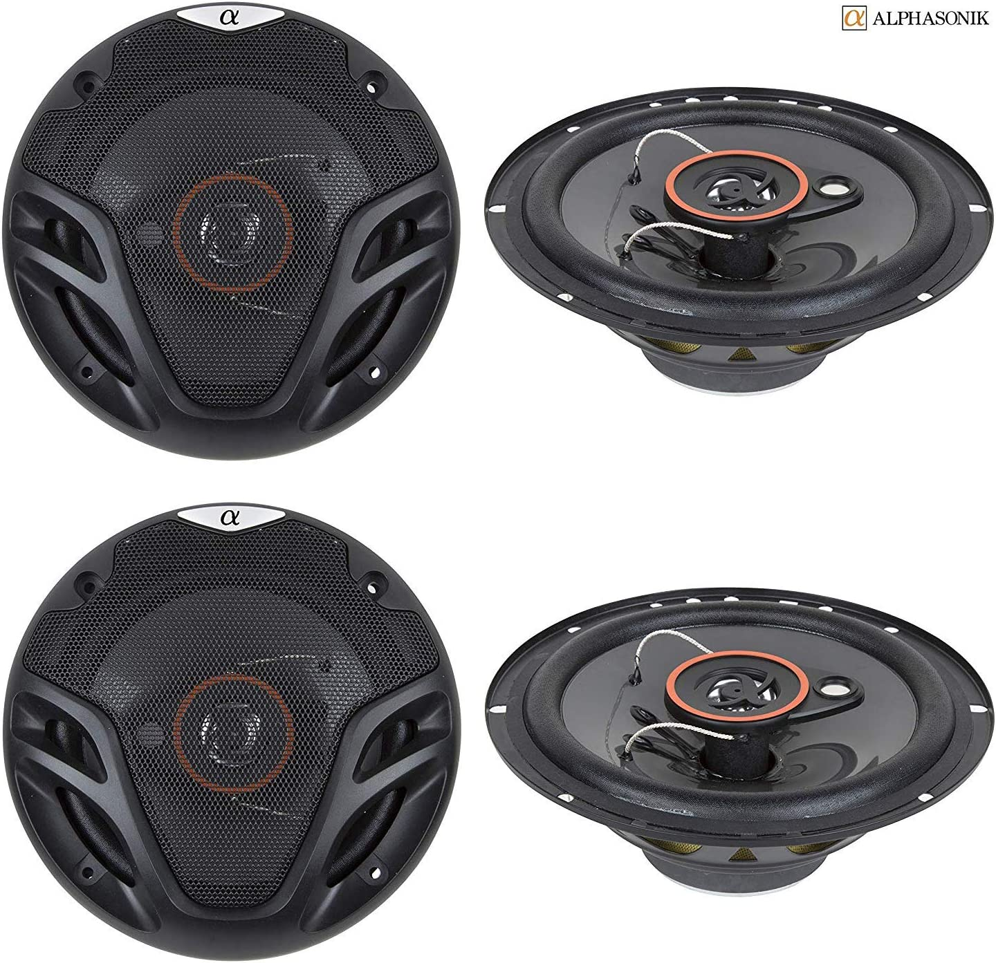 2 Pairs Alphasonik AS26 6.5 inch 350 Watts Max 3-Way Car Audio Full Range Coaxial Speakers with Universal Mounting Holes for Easy Installation and Grills Included 4 New