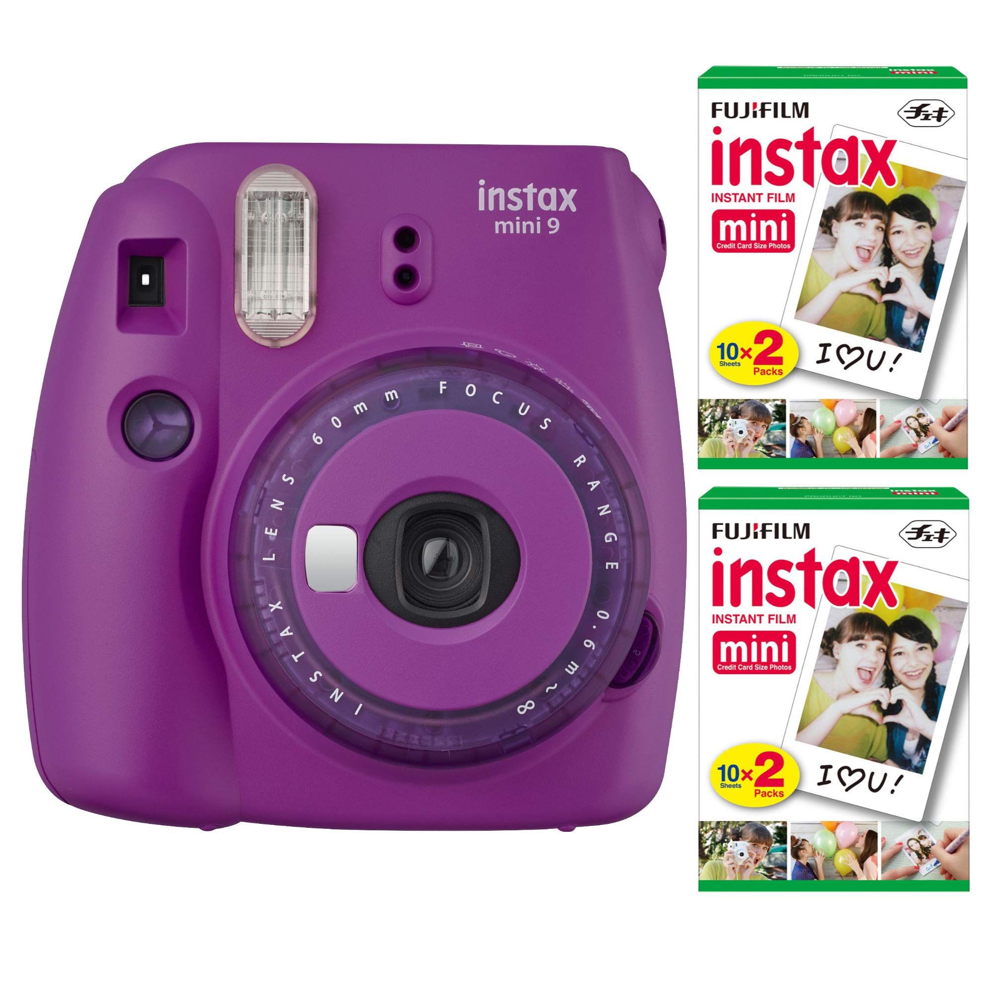 Fujifilm Instax Mini 9 Instant Camera (Purple) with 2 x Instant Twin Film Pack (40 Exposures) Bundle by Fujifilm