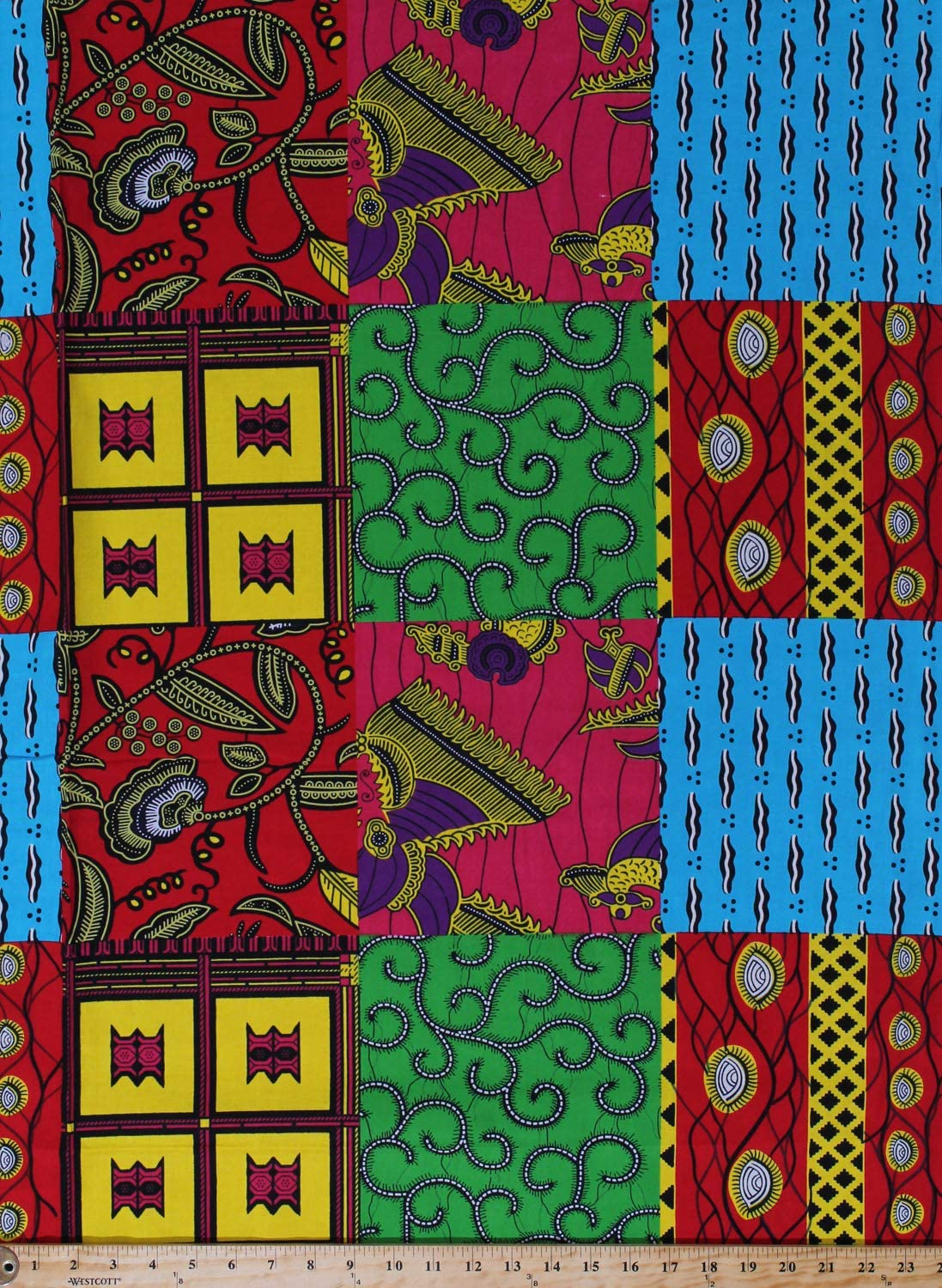 """African Wax Printed  cotton fabric 44/"""" width sold by the yard"""