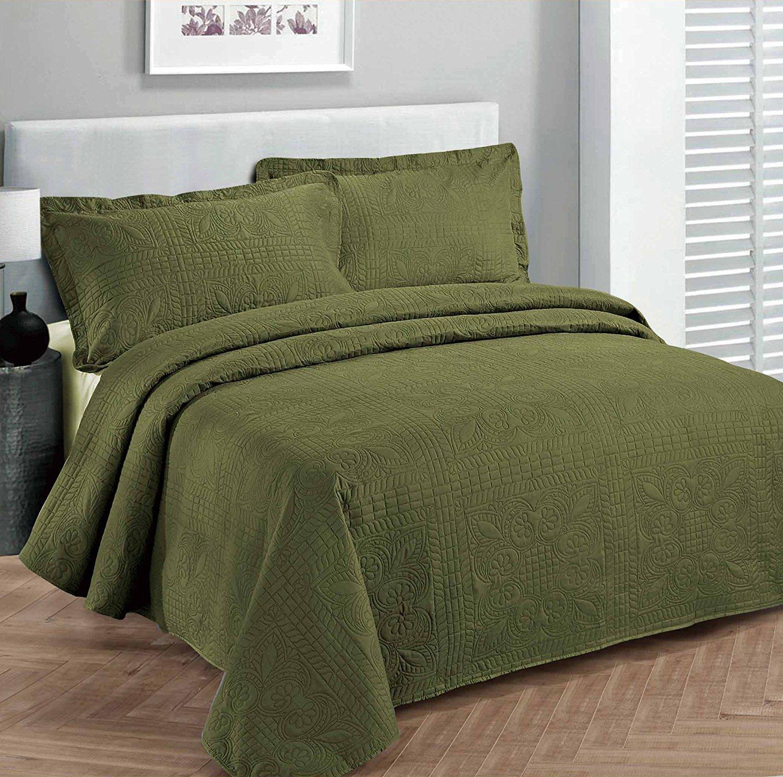 Linen Plus フル/クイーン 3点 オーバーサイズ ラグジュアリー ベッドスプレッド ベッドカバーセット ソリッド オリーブグリーン B07G9J886H
