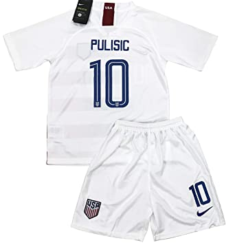 best website 1468b d5ca4 New 2018-2019 Pulisic #10 USA National Team Home Soccer Jersey & Shorts for  Kids/Youths